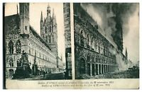 Antique military WW1 printed postcard Halles of YPRES before & after the fire