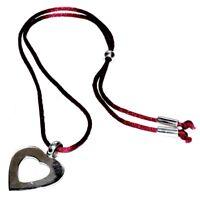 AMICIE & CO Collier cordon de soie rouge coeur argent massif 925 bijou necklace