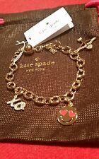 Kate Spade Lovestruck Emoji Heart Gold Tone Charm Bracelet NEW  VALENTINES DAY