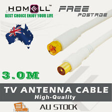 Y-CB33-3M White RG6 Dual Shield Coaxial Antenna TV Cable  Pal Male/ F Male Gold