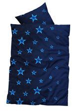 Bettwäsche 135x200 cm mit Sternen blau weiß aus Microfaser Set Reißverschluss