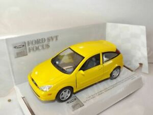"""Ford Focus SVT Yellow Die Cast Metal Model Car 5""""  New In Box"""