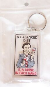 A BALANCED DIET IS A DRINK IN EACH HAND KEYRING NOVELTY FUNNY KEY CHAIN HOLDER