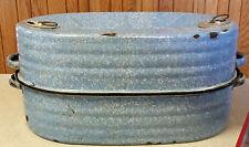 Antique Blue Roaster Pan 2 Pieces Graniteware Enamelware LISK Self Basting Large