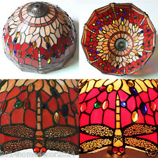 Vintage Red Dragonfly Tiffany Pendant Light w/ Stained Glass Lamp Shade Bedroom