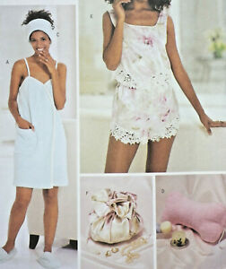 Butterick 3349 Spa Accessories Towel Wrap Camisole Shorts Bag + Pattern 6-8-10