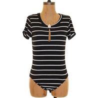 Ten Sixty Sherman Bodysuit Top Size S Short Sleeve Striped Black White EUC B93