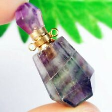 M22890 Natural Rainbow Fluorite Charm Essential Oil Diffuser Bottle Pendant