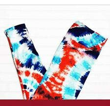 NWT LuLaRoe TC2 LEGGINGS RED BLUE AQUA TIE DYE AMERICANA SUMMER 2019 JULY 4TH