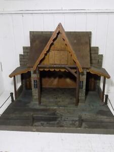 Rarität große Erzgebirge Krippe Stall Holz Metall Bemalung Krippenstall 20.JHD