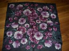Adrienne Vittadini 100% Silk  Dark Brown Lavender Floral Scarf Square NWT