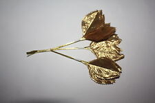 36  x GOLD SILK LARGE ARTIFICIAL ROSE LEAVES 60mm GOLD WIRED STEMS