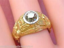 ANTIQUE VICTORIAN NOUVEAU 1.10ct BROWN MINE DIAMOND ENGAGEMENT UNISEX RING c1890