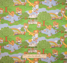 Easter Bunny Play Train Whistle Stop Station Brushed Cotton Flannel Fabric YARD