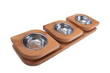 Non Slip Triple Bowls Pet Dog Cat Puppy Food Water Feeder Feeding Dish Wood New