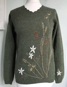 TULCHAN Y2K Green Pure Wool Embroidered Jumper M UK 10 12 Cottagecore Cute VGC
