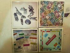 Monopoly 4x4 Ceramic Coasters Handmade set of 4