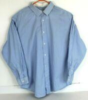 Robert Graham Mens 50/20 36/37 Tall Blue White Striped Button Front Shirt L/S