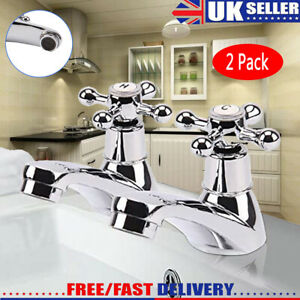 Traditional 2Taps Twin Hot Cold Mixer Tap Bath Bathroom Basin Sink Chrome Luxury