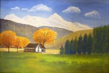 Original Landscape Painting on Paper House under Foliage in White Mountain Vally