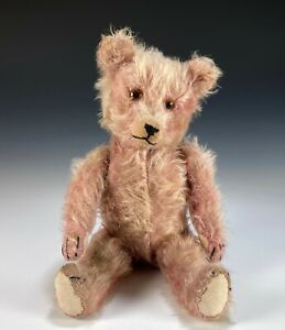 Old Vintage Pink Mohair Teddy Bear 16""