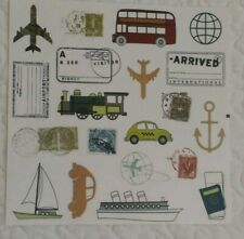 Scrapbook Premade Pages  Stickers Travel Getaway Vacation Airplane Cruise 8x8