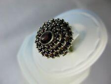 Sterling Silver Vintage Garnet Victorian Style Ring size 6.5