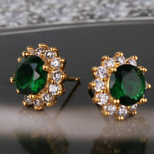 May birthstone 24K yellow gold filled gracious Dazzling lady emerald earring