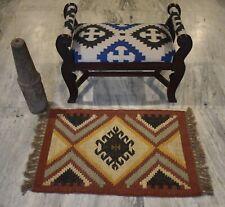 2x3 Feet Hand Woven Jute Wool Berber Mat Vintage Out/In Door Rug