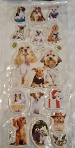 Puffy Dog Puppy Sticker Sheet 3D Raised Cute Individual Stickers Craft Scraps