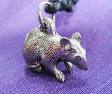 Vintage Pewter Mouse Mice Rat Charm Pendant Adjustable Black String Women Unisex