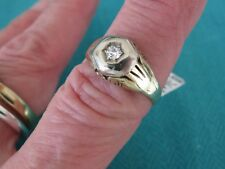 ART DECO 14K GOLD MINERS CUT DIAMOND RING .12 CT DIAMOND SI1 G SZ 8
