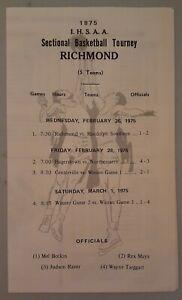 1975 Indiana High School Sectional Basketball Tournament Program