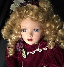 """Elegant Doll 16"""" Porcelain & Cloth BLONDE Hair Green Eyes FORMAL Velvet Gown"""