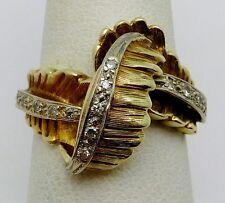 VINTAGE Solid 14k Yellow Gold / Diamonds Ladies Ring Size 7.25