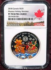 2018 CANADA $20 MURANO GLASS HOLIDAY REINDEER SILVER COIN  NGC PF 70 ULTRA CAMEO