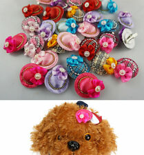 10pcs NEW Dog Hair Bows Hair Clips Cute Caps Princess Hat Clips Pet Grooming