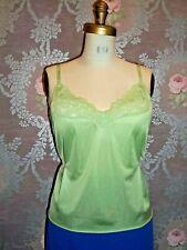 Vintage Camisole Top 1980s Nylon Green Satiny Slip Niighty Plus Size Lingerie 42