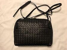 BOTTEGA VENETA Women's classic black intrecciato nappa messenger bag ITALY