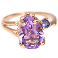 NATURAL AAA PURPLE AMETHYST 12X8 MM. PEAR & IOLITE STERLING 925 SILVER RING 6
