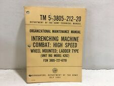 Tm 5-3805-212-20. Maintenance for Intrenching Machine Combat: Model 4262. 1963