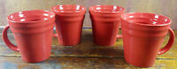 4 Pc Set Rachael Ray Double Ridge Red Bands Meyer Stoneware Coffee Cups Mugs