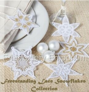 FREESTANDING LACE SNOWFLAKES COLLECTION -MACHINE EMBROIDERY DESIGNS ON CD OR USB