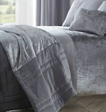 Boulevard Luxury Velvet Quilted Bed Throwover, 200cm X 230cm, Grey