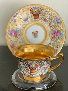 Antique Ambrosius Lamm Dresden Porcelain Gold Gilt & Floral Decorated Demitasse