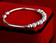 UK Fortune Bead Ball End 925 SILVER PLATE OPEN Adjustable BANGLE BRACELET