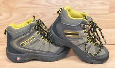 Genuine Swiss Gear Brown & Yellow Leather Boy's Size 13 Hiking Boots **READ**