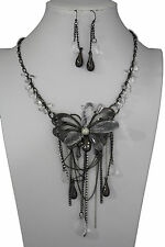 Women Black Silver Long Necklace Metal Big Butterfly Fashion Jewelry + Earrings