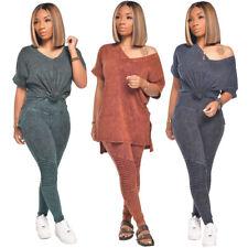 2pcs Summer женский повседневный коротким рукавом, топ брюки V-образным вырезом домашняя одежда спортивный костюм комплект