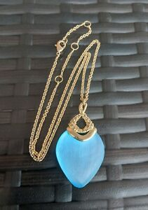 Alexis Bittar Blue Lucite Gold Plated Crystal Pendant Chain Necklace *read*